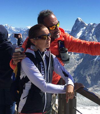 Bruno Hon et Anne-Catherine sur la plateforme de l'Aiguille du Midi. Août 2015.